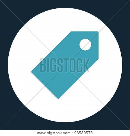 Tag flat blue and white colors round button