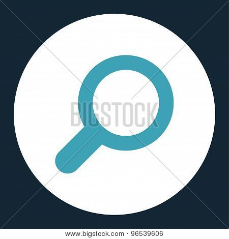 View flat blue and white colors round button