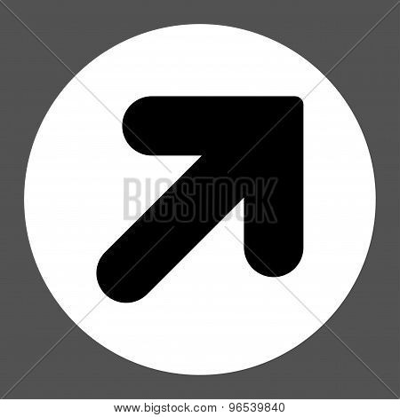 Arrow Up Right flat black and white colors round button