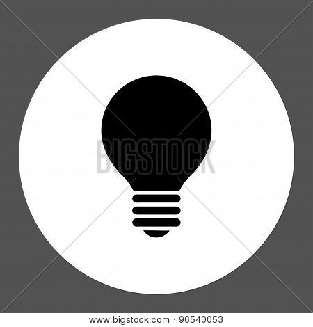Electric Bulb flat black and white colors round button