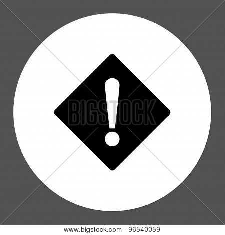 Error flat black and white colors round button