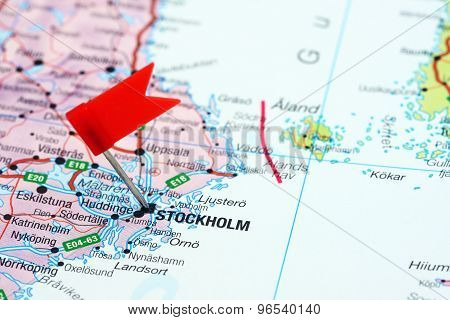 Stockholm pinned on a map of europe