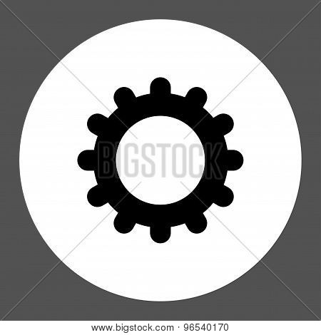 Gear flat black and white colors round button