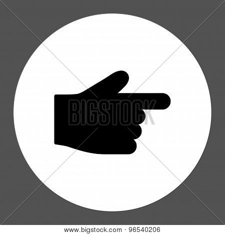 Index Finger flat black and white colors round button
