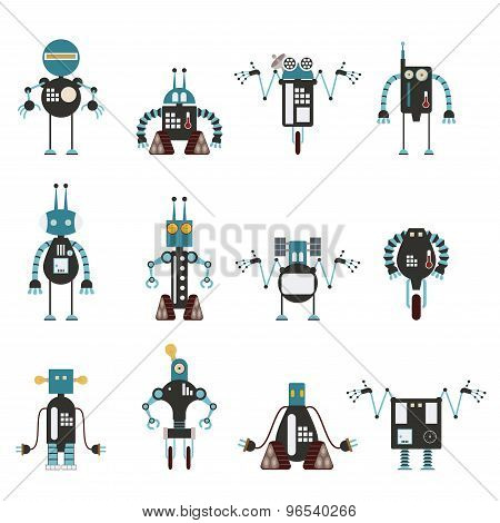 Collection Of Cyan Robot Icons