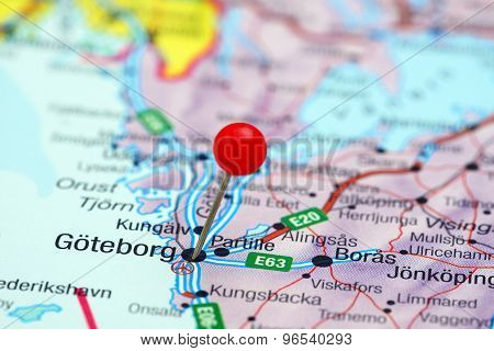Goteborg pinned on a map of europe