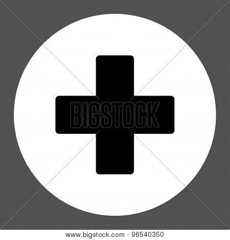 Plus flat black and white colors round button