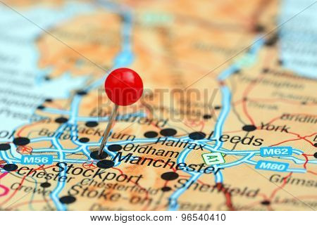 Manchester pinned on a map of europe