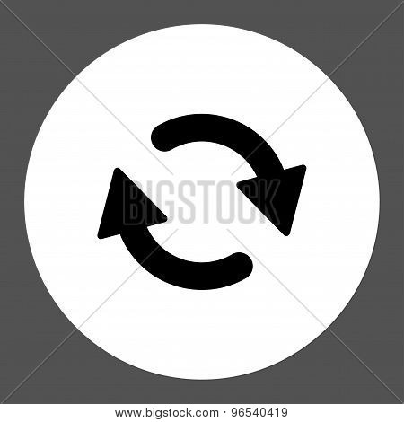 Refresh flat black and white colors round button