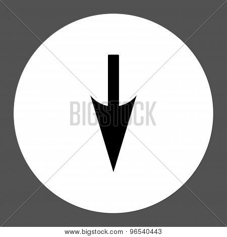 Sharp Down Arrow flat black and white colors round button