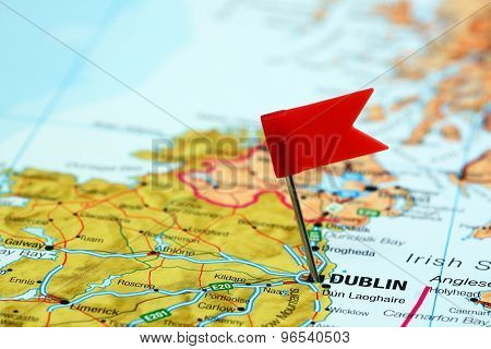 Dublin pinned on a map of europe