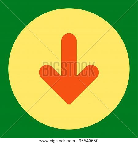 Arrow Down flat orange and yellow colors round button
