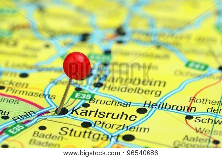 Karlsruhe pinned on a map of europe