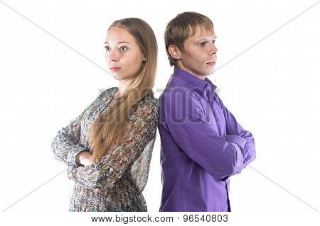 Image blond woman and man standing back-to-back
