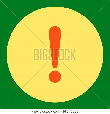 Exclamation Sign flat orange and yellow colors round button