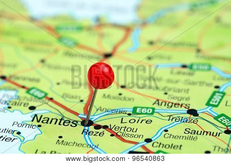 Nantes pinned on a map of europe
