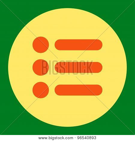 Items flat orange and yellow colors round button