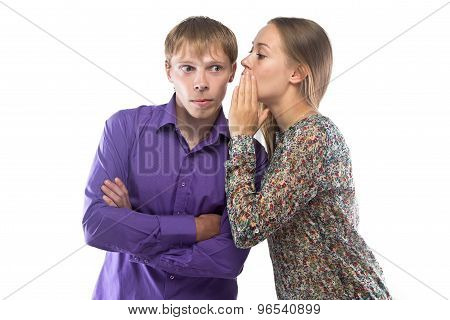 Photo of gossiping blond woman and man