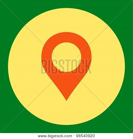 Map Marker flat orange and yellow colors round button