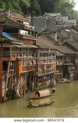 Local Tujia Minority Boat Show In River.
