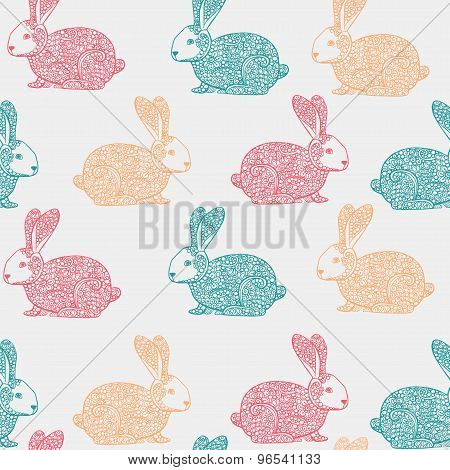 Seamless Vector Pattern With Hand Drawn Ornamental Rabbit Illustration. Decorative Doodle Hare Backg