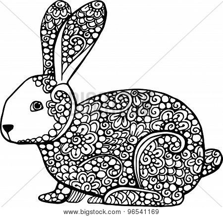 Decorative Hand Drawn Doodle Rabbit Illustration. Ornate Hare Drawing