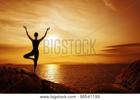 Yoga Meditation Concept, Woman Silhouette Meditating In Nature
