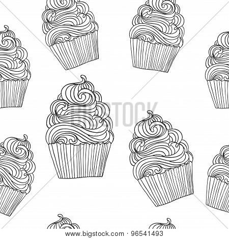 Seamless Vector Pattern With Hand Drawn Outline Cupcake Illustrations