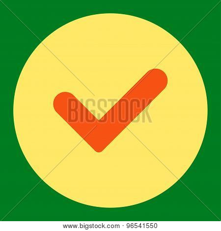 Yes flat orange and yellow colors round button