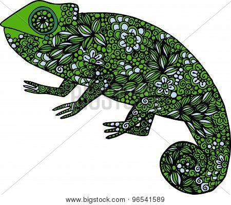 Hand drawn doodle colorful chameleon illustration decorated with ornaments