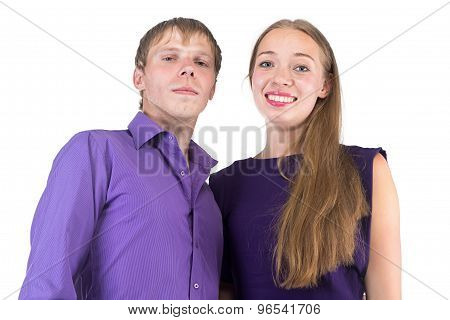 Photo of happy hugging woman and man