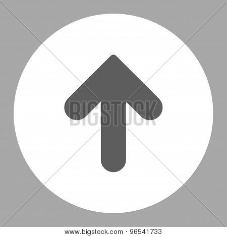 Arrow Up flat dark gray and white colors round button