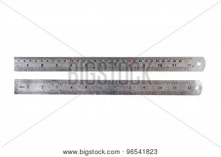 Carpenter's Metal Ruler Isolated On  White