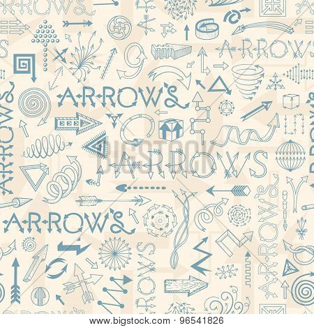 Seamless Pattern With Doodle Arrows