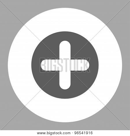 Create flat dark gray and white colors round button