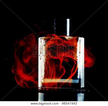 Man Perfume On Black Background