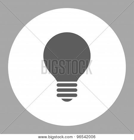Electric Bulb flat dark gray and white colors round button