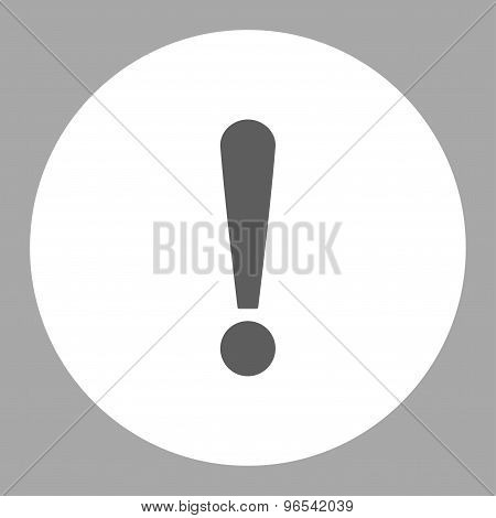 Exclamation Sign flat dark gray and white colors round button