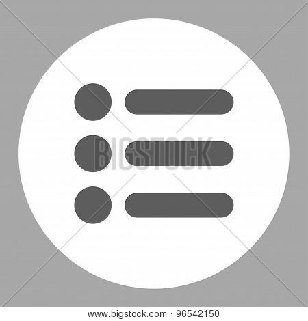 Items flat dark gray and white colors round button