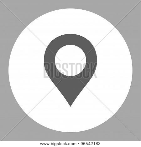 Map Marker flat dark gray and white colors round button