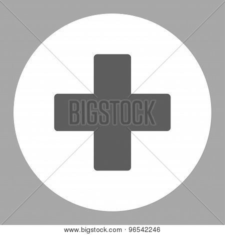 Plus flat dark gray and white colors round button