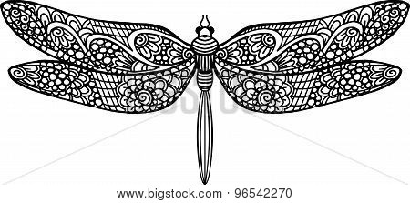 Decorative vector hand drawn dragonfly illustration with doodle ornaments
