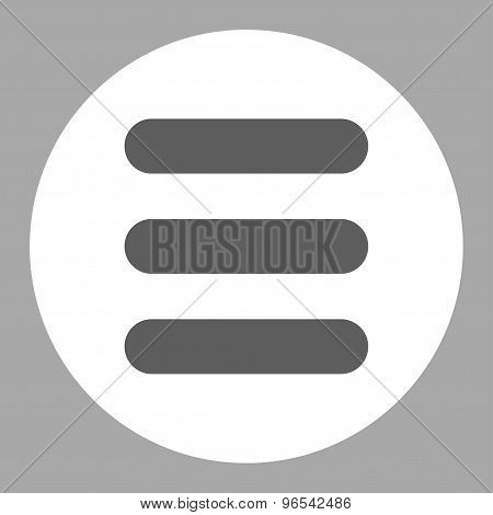 Stack flat dark gray and white colors round button