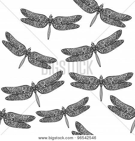 Vector seamless pattern with hand drawn dragonfly illustrations. decorative dragonfly background