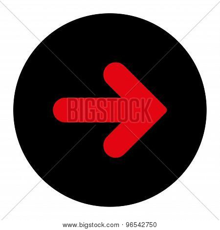 Arrow Right flat intensive red and black colors round button