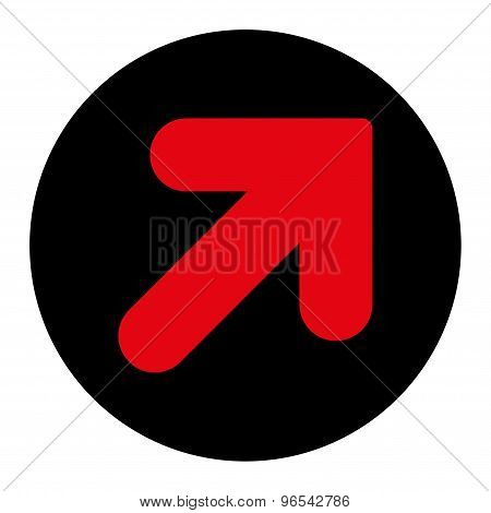 Arrow Up Right flat intensive red and black colors round button