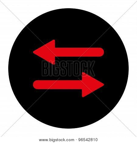 Arrows Exchange Horizontal flat intensive red and black colors round button