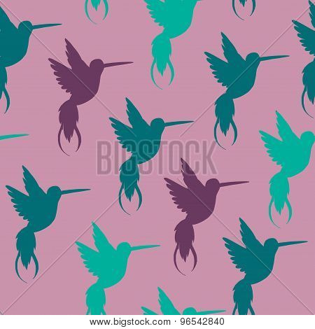 Vector seamless pattern with hand drawn decorative doodle hummingbird illustrations.