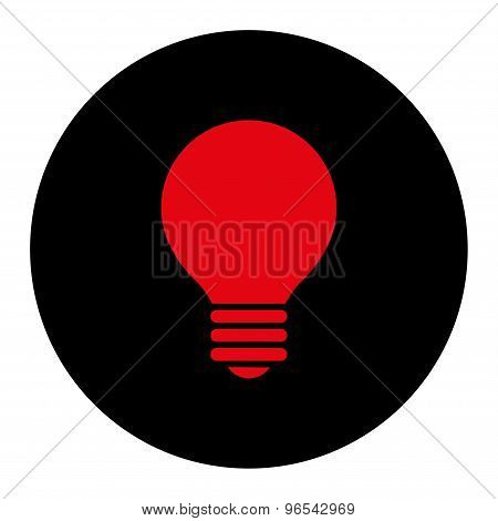 Electric Bulb flat intensive red and black colors round button