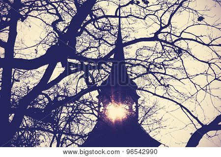 Vintage Mysterious Or Scary Church Tower Silhouette At Sunset.